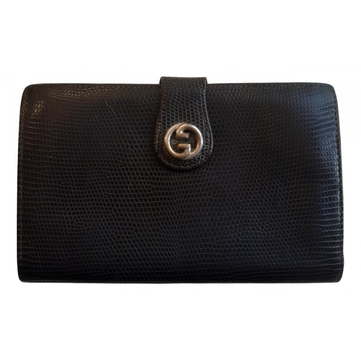 Gucci \N Black Lizard wallet for Women \N