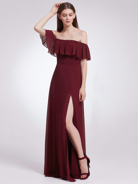 Milanoo Vestidos de dama del hombro A Longitud de la linea del piso de la cremallera vestido de fiesta de boda de la gasa