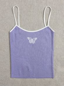 Butterfly Embroidered Knit Top