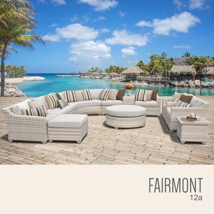 FAIRMONT-12a-BEIGE Fairmont 12 Piece Outdoor Wicker Patio Furniture Set 12a with 2 Covers: Beige and
