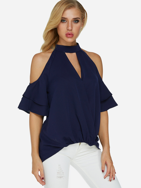 Yoins Dark Blue Cold Shoulder Cross Front Tee