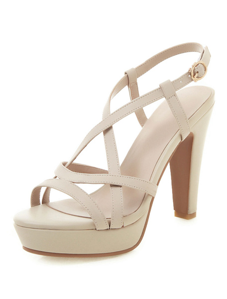 Milanoo Sandalias de tacon alto zapatos con sandalias con tiras abiertas para las mujeres