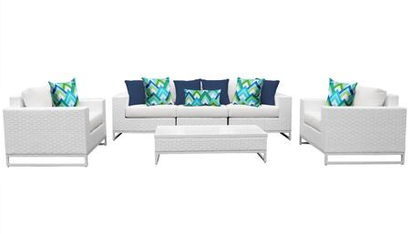 Miami MIAMI-06e 6-Piece Wicker Patio Furniture Set 06e with 1 Armless Chair  1 Coffee Table  2 Club Chairs  1 Left Arm Chair and 1 Right Arm Chair  -