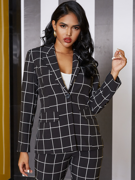 YOINS Khaki Plaid Lapel Collar Long Sleeves Blazer