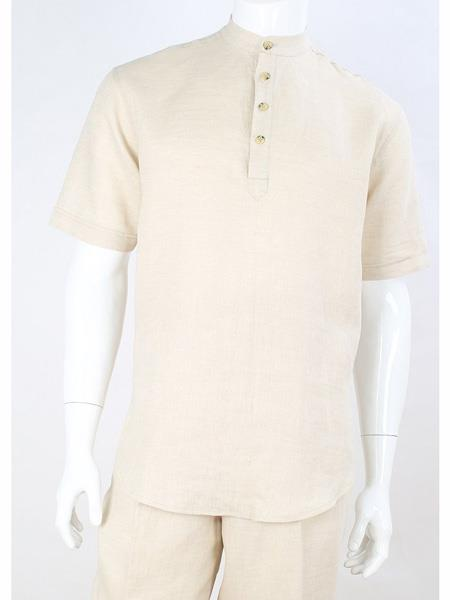 Mens Safari Casual Shirt Mandarin Collar Linen Shirt & Pants Cream