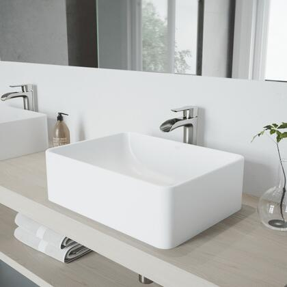 Amaryllis Collection VGT1088MW Matte Stone Vessel Bathroom Sink Set With Niko Vessel Faucet in Brushed