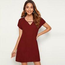 Einfarbiges Tunik Kleid mit V-Kragen