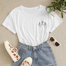 T-Shirt mit Schaedel Muster und kurzen Ärmeln