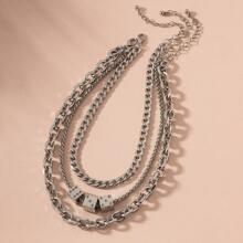 3pcs Simple Dice Decor Chain Necklace