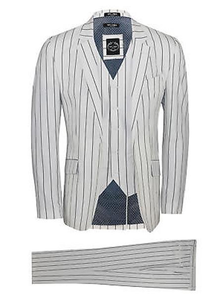 White and Black Stripe Pimp Fashion ~ Gangster Mobster Suit Custom