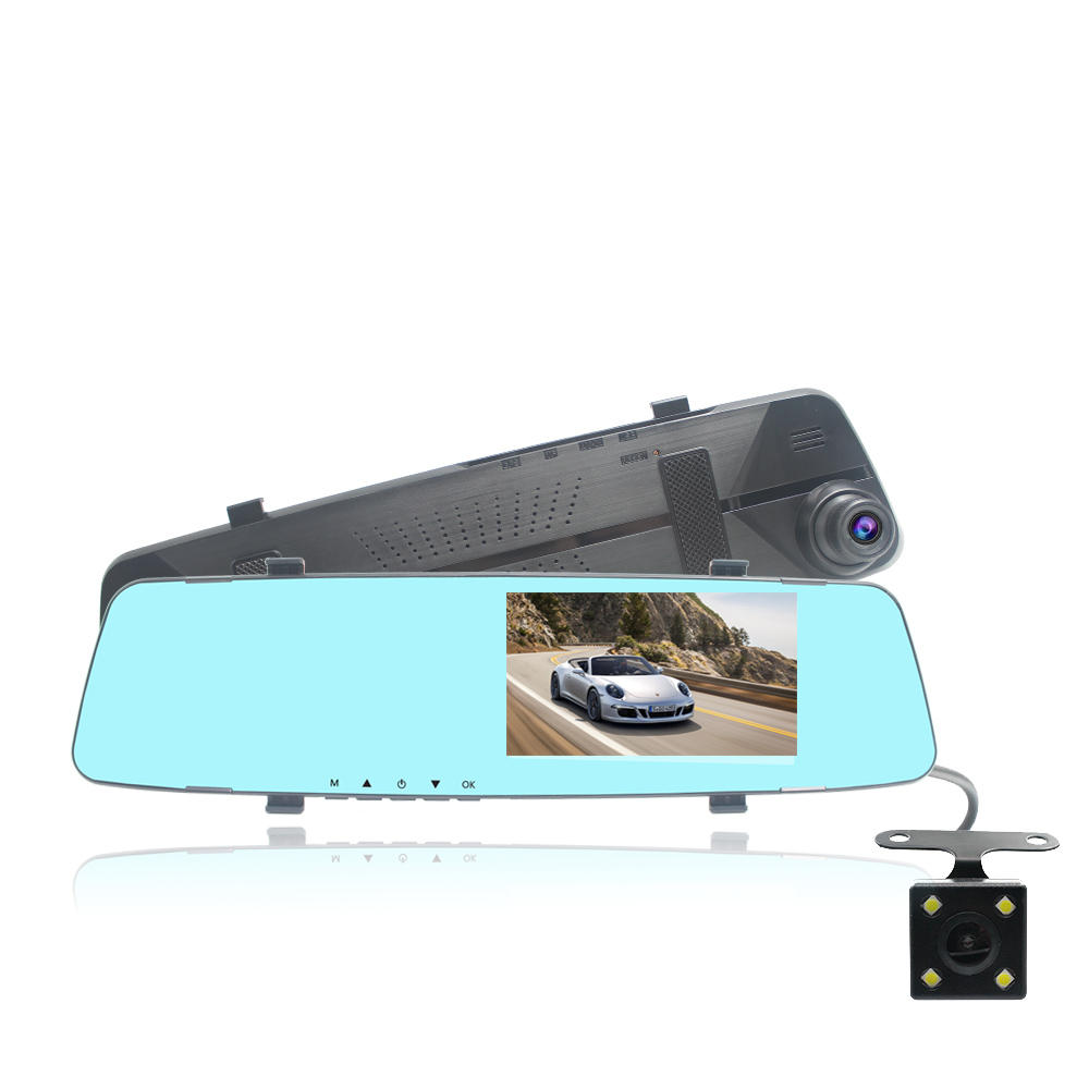 4.3 Inch Dual Lens 1080P Car DVR Dash Cam Video Recorder Rear View Mirror Camera