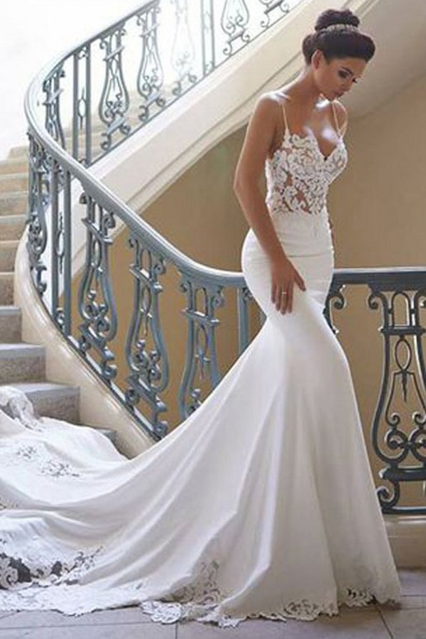 Schlichte Brautkleider Mit Spitze | Hochzeitskleider Meerjungfrau Gunstig Online