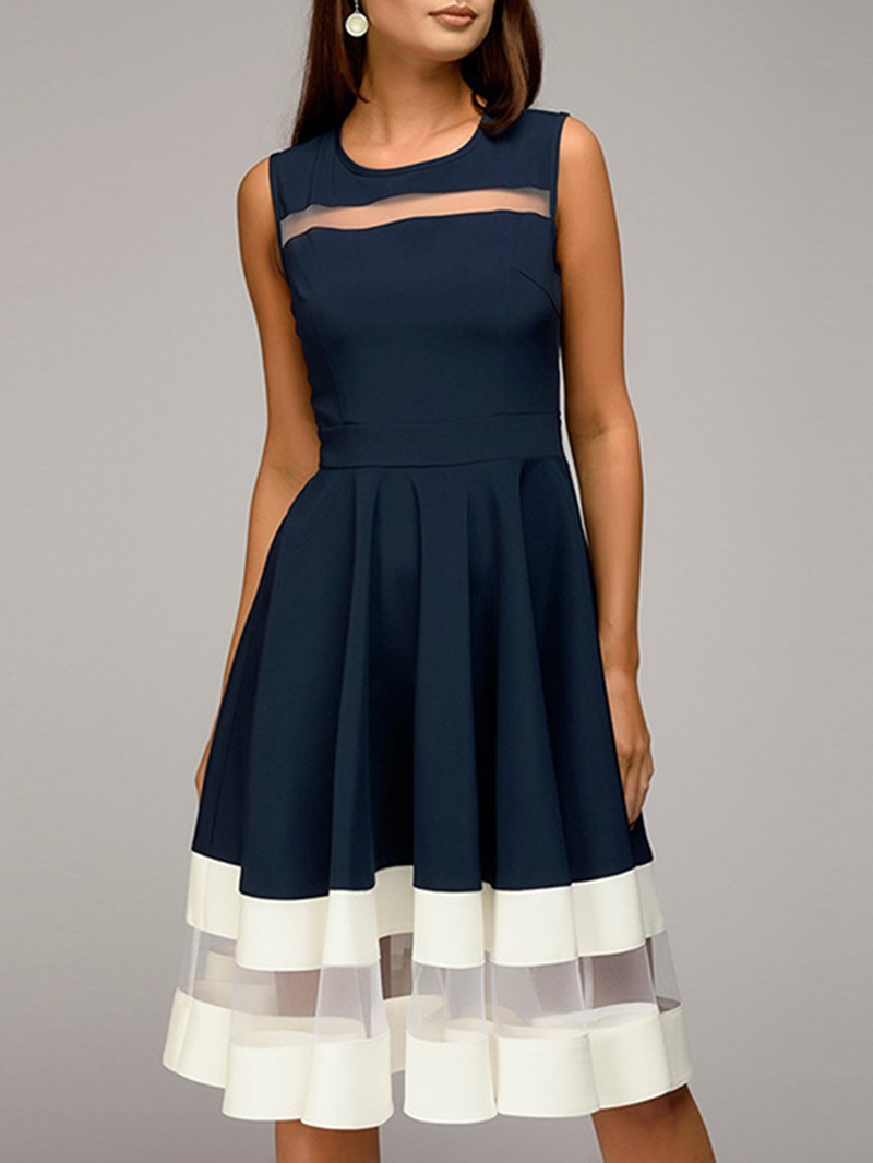 Ericdress Mid-Calf Pullover Sleeveless A-Line Dress