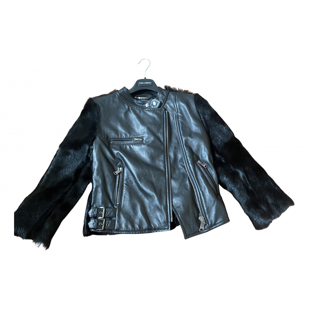 Dolce & Gabbana N Black Leather Leather jacket for Women 38 IT