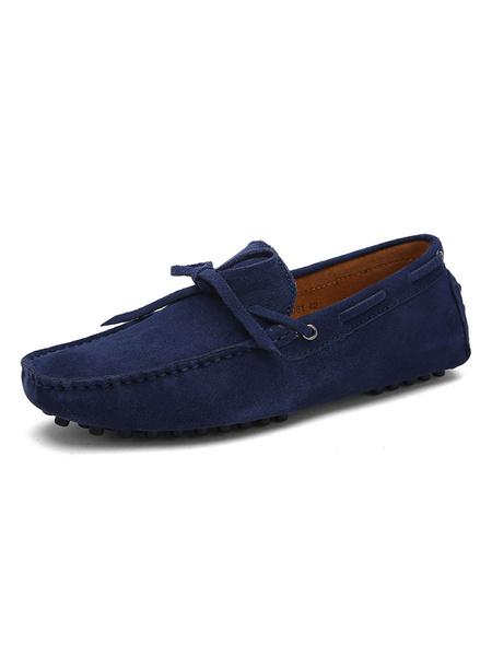 Milanoo Deslizamiento de gamuza zapatos mocasin Penny holgazan de los hombres en los zapatos de conduccion