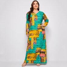 Tunika Kleid mit V-Ausschnitt und Flicken Muster