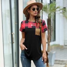 T-Shirt mit Karo Muster, Farbblock und Taschen vorn
