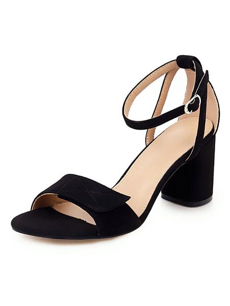 Milanoo Mid Heel Sandals Womens Open Toe Ankle Strap Chunky Heel Sandals