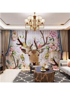 3D Elks Head and Colorful Flowers Printed Decorative 2 Panels Custom Sheer