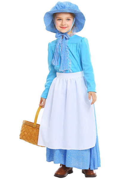 Milanoo Halloween Costumes For Kids Light Sky Blue Maid Dress With Hat Apron 3 Pieces Cosplay Wears For Girls