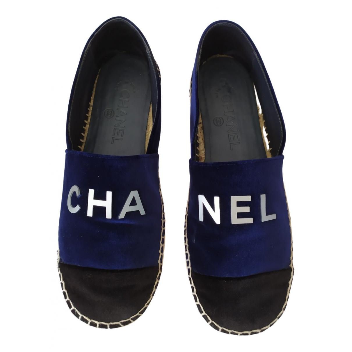 Chanel - Espadrilles   pour femme en velours - bleu