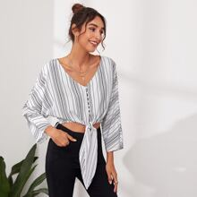 Button Front Knotted Batwing Sleeve Striped Top