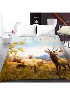Elk on The Prairie in Autumn 3D Printed Polyester 1-Piece Warm Quilt