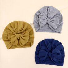 3 piezas sombrero turbante de bebe con lazo