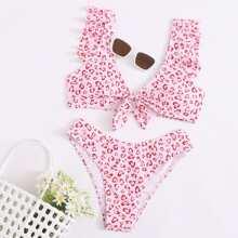 Bikini Badeanzug mit Grafik, Knoten vorn und Rueschen