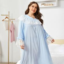 Plus Bow Front Embroidered Mesh Ruffle Trim Nightdress