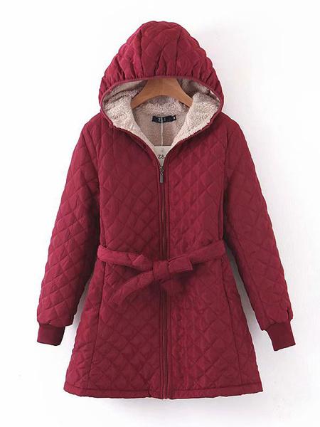 Milanoo Woman\'s Outerwear Dark Navy Hooded Long Sleeves Drawstring Casual Maxi Coat Winter Outerwear