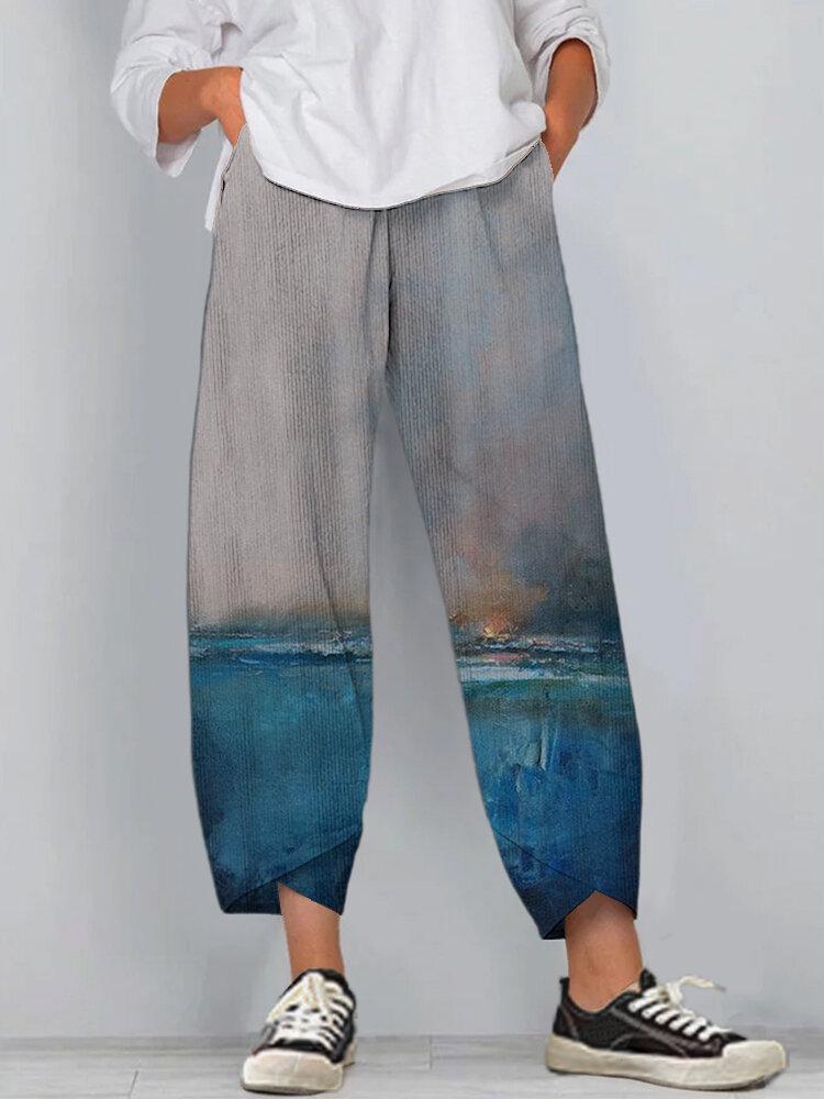 Landscape Print Corduroy Splited Elastci Waist Pants For Women