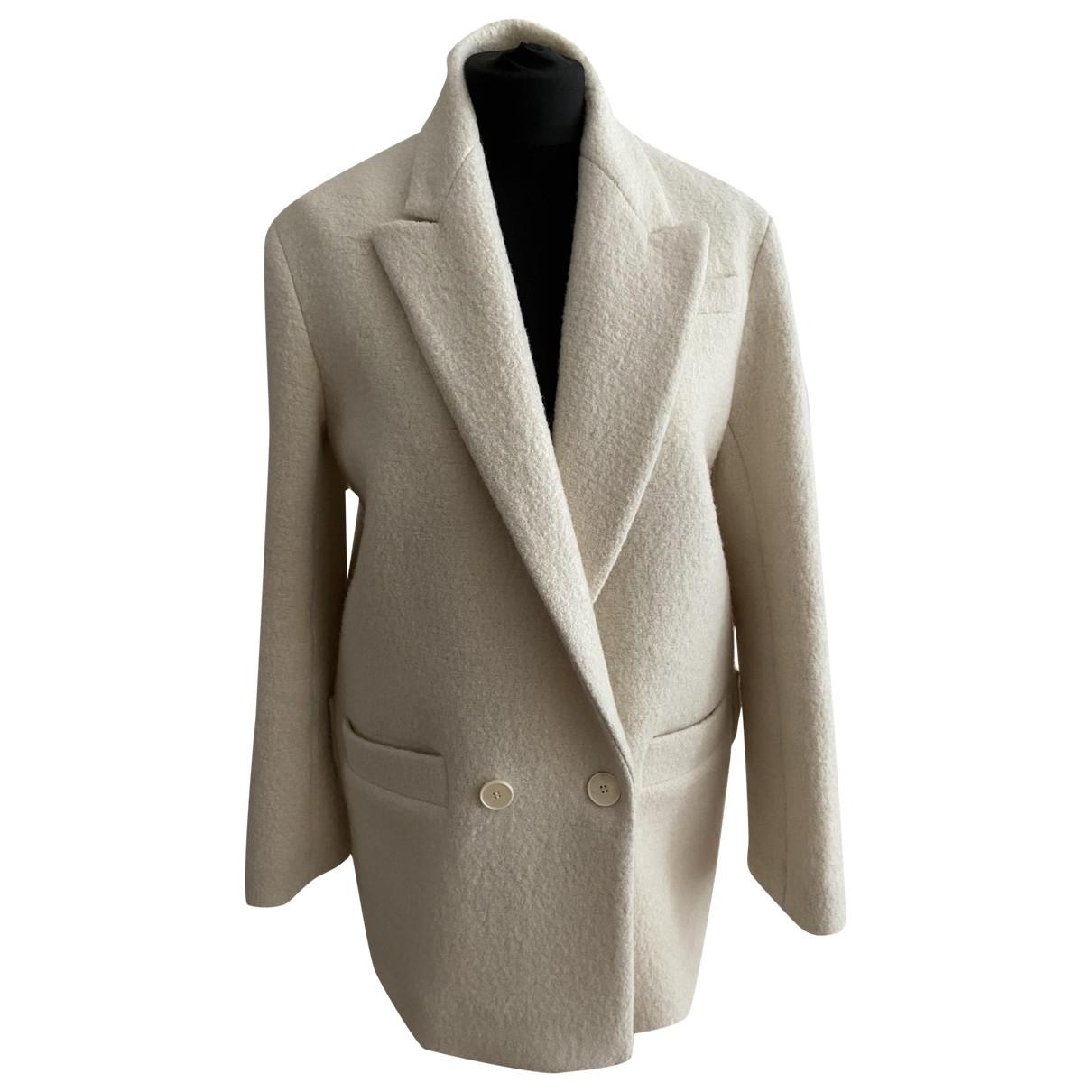 Sandro \N White Wool coat for Women 38 FR