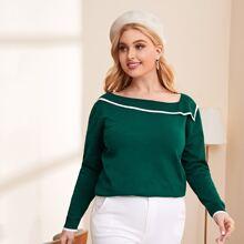 Pullover mit asymmetrischem Kragen und Kontrast Bindung