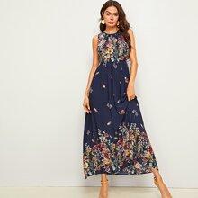 Maxi Kleid mit Blumen Muster, Band hinten und Rueschenbesatz