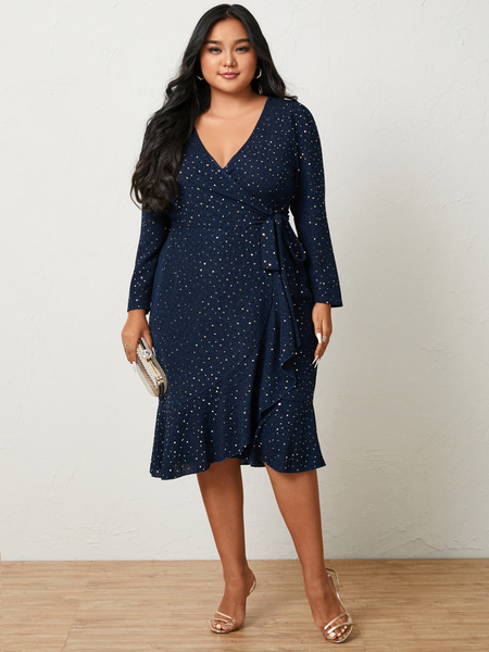 YOINS Plus Size V-neck Tie-up Design Wrap Design Long Sleeves Midi Dress