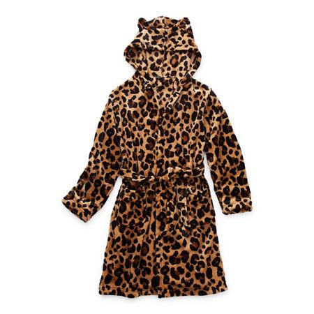 Arizona Little & Big Girls Fleece Long Sleeve Knee Length Robe, Large (14) , Beige