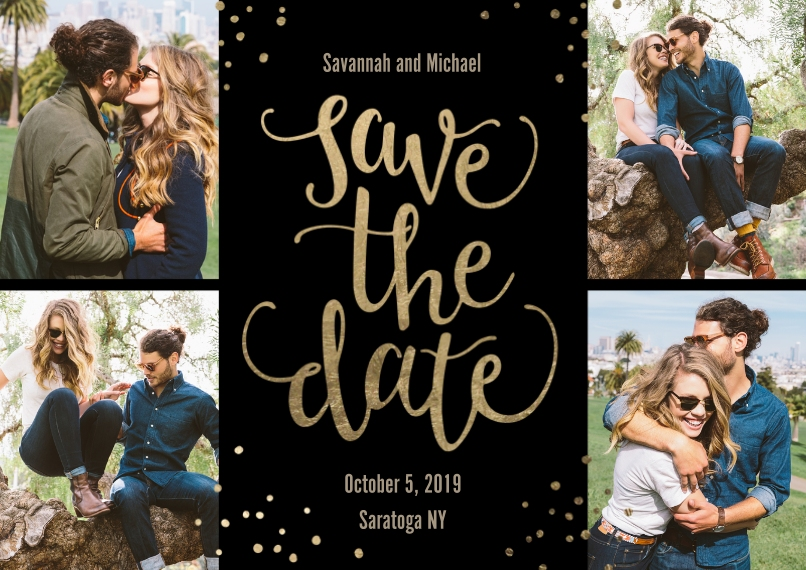 Save the Date 5x7 Cards, Premium Cardstock 120lb with Scalloped Corners, Card & Stationery -Save the Date Gold Confetti
