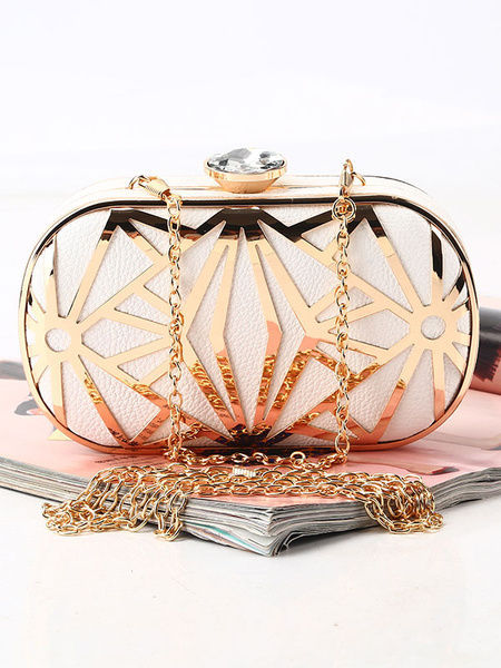 Milanoo Evening Clutch Bags Rhinestones Party Handbags PU Detachable Strap Women Accessories
