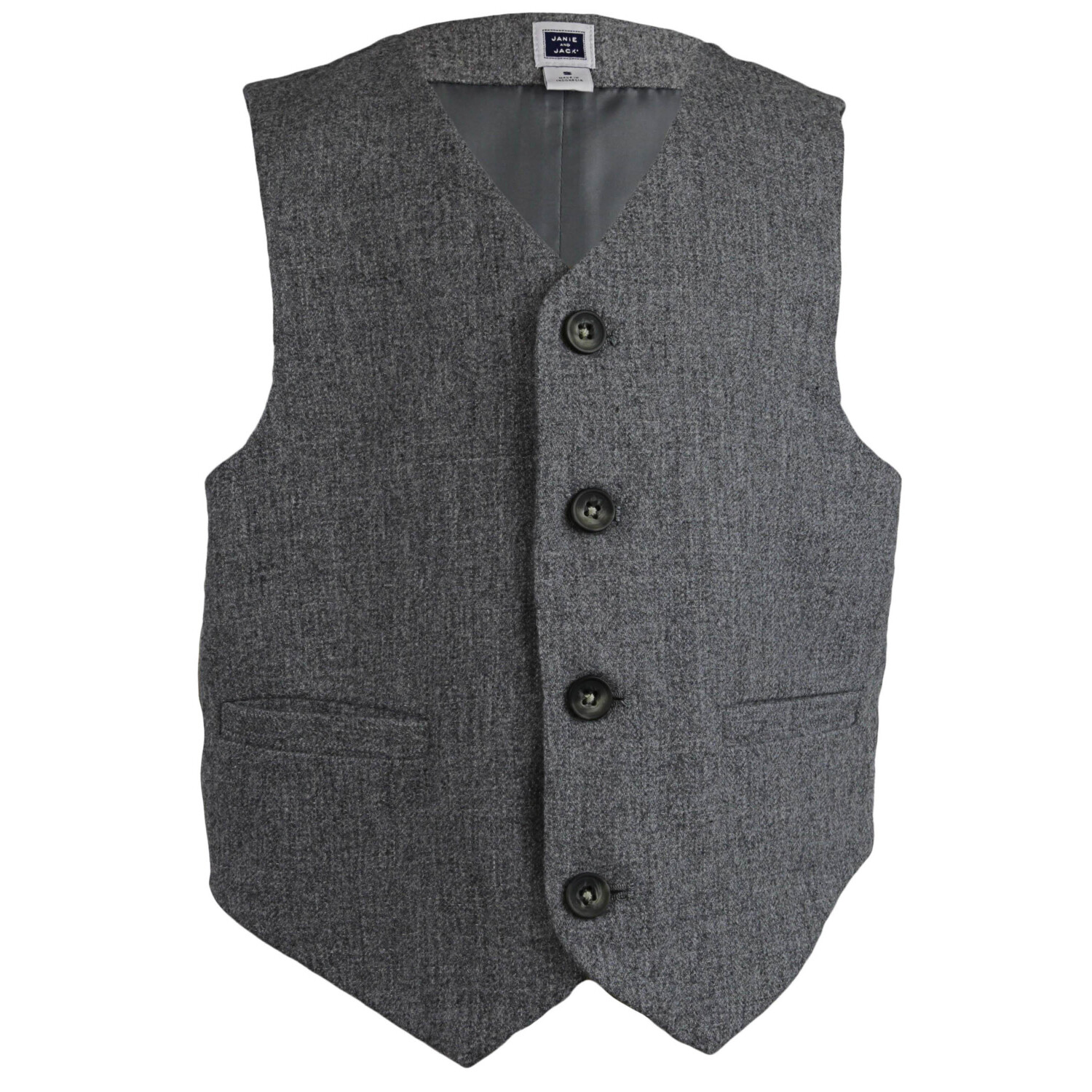 Janie And Jack Boy's Grey Wool Suit Vest - 6-12 Months
