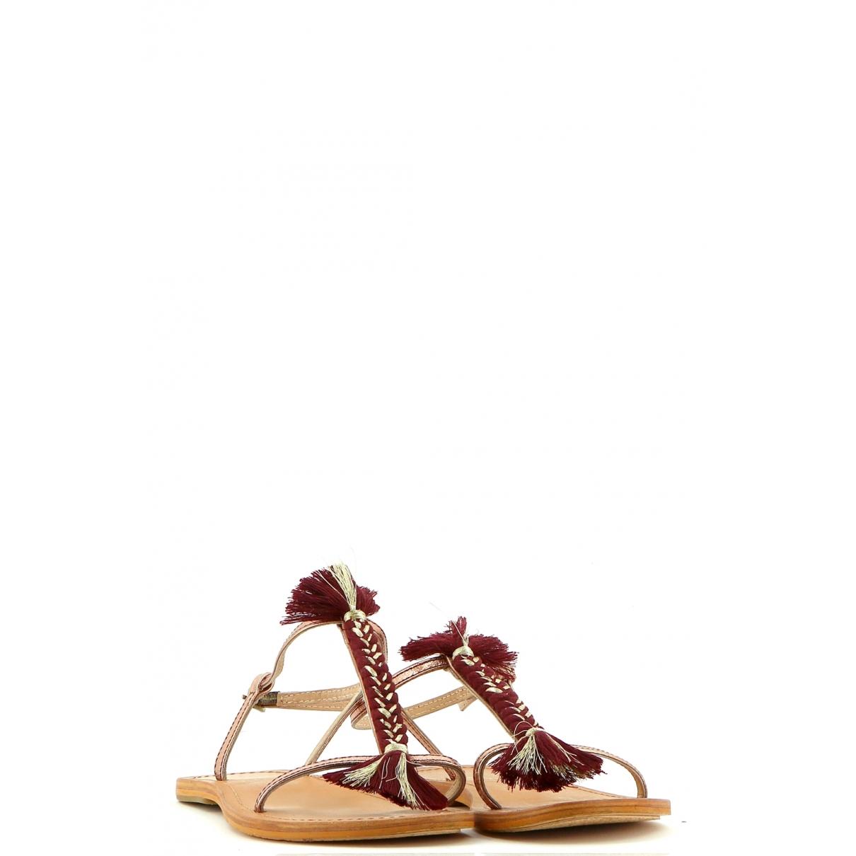 - Sandales   pour femme en cuir - bordeaux