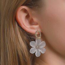Rhinestone Detail Flower Drop Earrings