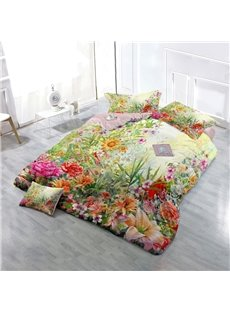 Spring Floral Garden Wear-resistant Breathable High Quality 60s Cotton 4-Piece 3D Bedding Sets