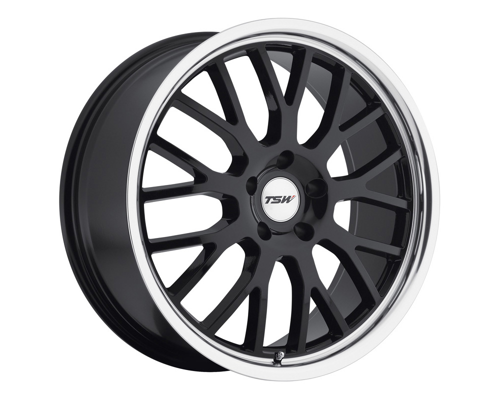 TSW Tremblant Wheel 17x8 5x100 35mm Gloss Black w/ Mirror Cut Lip