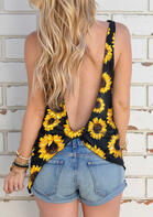 Sunflower Twist Open Back Tank - Yellow