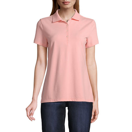 St. Johns Bay Womens Short Sleeve Knit Polo Shirt, Xx-large , Pink
