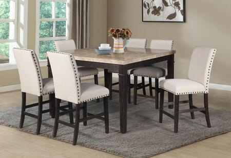Leah Collection LE566CT6CC 7-Piece Dining Room Set with Bar Table and 6 Counter Height Chairs in Multi