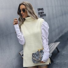 Turtleneck Split Hem Sweater Vest