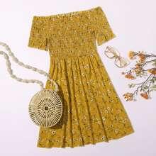 Vestido floral de margarita ribete fruncido