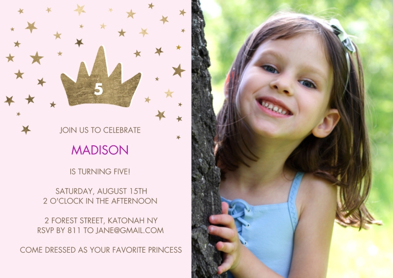 Kids Birthday Party 5x7 Cards, Premium Cardstock 120lb with Elegant Corners, Card & Stationery -Birthday Princess Stars
